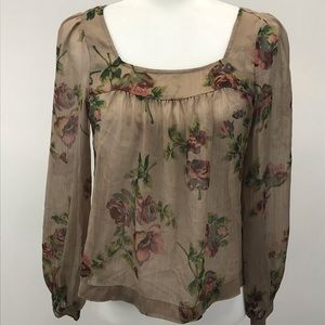 JESSICA SIMPSON Sheer Boho Floral blouse XS